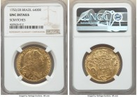 Jose I gold 6400 Reis 1753/2-R UNC Details (Scratches) NGC, Rio de Janeiro mint, KM172.2, LMB-421. Lustrous with a deeper brilliance within the protec...