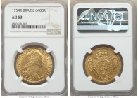 Jose I gold 6400 Reis 1754-R AU53 NGC, Rio de Janeiro mint, KM172.2, LMB-422. Displaying even detail to the struck features, these placed by an almost...