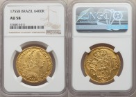Jose I gold 6400 Reis 1755-B AU58 NGC, Bahia mint, KM172.1, LMB-385. Scattered marks and a touch of friction define the assigned grade, but cannot hid...