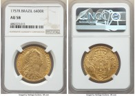 Jose I gold 6400 Reis 1757-R AU58 NGC, Rio de Janeiro mint, KM172.2, LMB-425. Lightly handled with a generally satiny appearance to the almost uncircu...