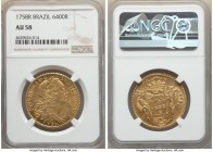 Jose I gold 6400 Reis 1758-R AU58 NGC, Rio de Janeiro mint, KM172.2, LMB-426. Satiny and laden with rich golden brilliance.   HID09801242017  © 2020 H...