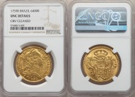 Jose I gold 6400 Reis 1759-R UNC Details (Obverse Cleaned) NGC, Rio de Janeiro mint, KM172.2, LMB-427, Gomes-55.11. Boldly defined, with pleasing rose...