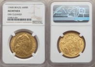 Jose I gold 6400 Reis 1760-R AU Details (Obverse Cleaned) NGC, Rio de Janeiro mint, KM172.2, LMB-428, Gomes-55.12. Bright and satiny, with even fricti...