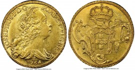 Jose I gold 6400 Reis 1764-R AU58 NGC, Rio de Janeiro mint, KM172.2, LMB-432. Attractively centered on a sun gold planchet bearing ample aurous luster...