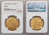 Jose I gold 6400 Reis 1765-R AU53 NGC, Rio de Janeiro mint, KM172.2, LMB-433. Ample luster for its assigned grade, with an slightly weaker strike evid...