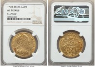 Jose I gold 6400 Reis 1766-R AU Details (Cleaned) NGC, Rio de Janeiro mint, KM172.2, LMB-434. Displaying patches of hairlines from a prior cleaning, t...