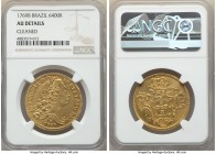 Jose I gold 6400 Reis 1769-B AU Details (Cleaned) NGC, Bahia mint, KM172.1, LMB-399. Exhibiting deeply embossed devices highlighted in flares of golde...