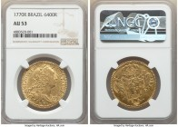 Jose I gold 6400 Reis 1770-R AU53 NGC, Rio de Janeiro mint, KM172.2, LMB-438. A gratifying and scintillating offering bordered by broad bottlecap-like...