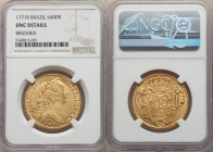 Jose I gold 6400 Reis 1771-R UNC Details (Brushed) NGC, Rio de Janeiro mint, KM172.2, LMB-439, Gomes-55.25. Evidence of brushing in the central areas....