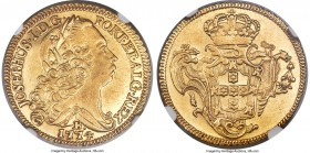 Jose I gold 6400 Reis 1774-B AU55 NGC, Bahia mint, KM172.1, LMB-404. A shimmering example bordered by pleasingly sharp rims featuring prominent dentic...