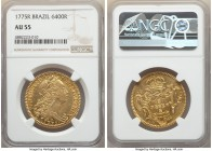 Jose I gold 6400 Reis 1775-R AU55 NGC, Rio de Janeiro mint, KM172.2, LMB-443. Lightly rubbed to the higher parts of Jose's bust, though otherwise conv...