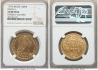 Jose I gold 6400 Reis 1777-B AU Details (Harshly Cleaned) NGC, Bahia mint, KM172.1, LMB-407. A lightly circulated example preserving original mint bri...