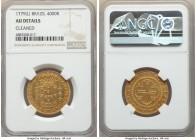 Maria I & Pedro III gold 4000 Reis 1779-(L) AU Details (Cleaned) NGC, Lisbon mint, KM210, LMB-455. Mintage: 5,150. Displaying a gentle tangerine tone ...