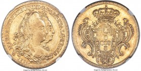 Maria I & Pedro III gold 6400 Reis 1778-R AU58 NGC, Rio de Janeiro mint, KM199.2, LMB-460. A well-struck example exhibiting clear features bathed in a...