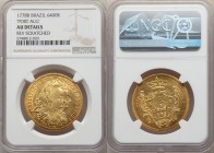"Maria I and Pedro III gold 6400 Reis 1778-B AU Details (Reverse Scratched) NGC, Bahia mint, KM199.1. Variety with ""PORT.ALG"" legend on obverse. Boldly..."