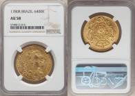 Maria I and Pedro III gold 6400 Reis 1780-R AU58 NGC, Rio de Janeiro mint, KM199.2. A bright and flashy sun-yellow, with a touch of friction to the hi...