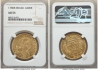 Maria I & Pedro III gold 6400 Reis 1780-B AU55 NGC, Bahia mint, KM199.1, LMB-485. A sunny example displaying a well-placed strike.   HID09801242017  ©...