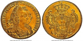 Maria I & Pedro III gold 6400 Reis 1782-B AU Details (Cleaned) NGC, Bahia mint, KM199.1, LMB-487. An offering preserving nearly full detail to even th...