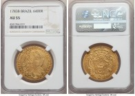 Maria I & Pedro III gold 6400 Reis 1783-B AU55 NGC, Bahia mint, KM199.1, LMB-488. Slightly weak over the obverse busts, though displaying a combinatio...