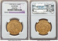 Maria I & Pedro III gold 6400 Reis 1783-B AU Details (Scratches) NGC, Bahia mint, KM199.1, LMB-488. Strikingly toned, with some scratches to the obver...