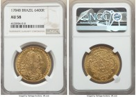Maria I & Pedro III gold 6400 Reis 1784-B AU58 NGC, Bahia mint, KM199.1, LMB-489. Rich harvest gold in color with abundant mint brilliance expressed o...