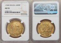 Maria I and Pedro III gold 6400 Reis 1784-R AU55 NGC, Rio de Janeiro mint, KM199.2, LMB-466. A bright and flashy lemon-yellow, with light reflectivity...