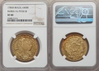 Maria I & Pedro III gold 6400 Reis 1786-B XF40 NGC, Bahia mint, KM199.1. Less wear than one might expect, with a weak central strike. Hints of reddish...