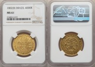 João Prince Regent gold 4000 Reis 1802-(B) MS61 NGC, Bahia mint, KM225.2, LMB-500, Gomes-27.02. An issue that exceeds the qualitative norm for this of...