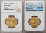 Maria I gold 4000 Reis 1804/2-(B) AU Details (Cleaned) NGC, Bahia mint, KM225.2, LMB-502. Very light wear and on the cusp of Mint State, with hairline...