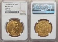 Maria I gold 6400 Reis 1787/6-B UNC Details (Cleaned) NGC, Bahia mint, KM218.2, LMB-504, Gomes-28.02. An appealing issue with an especially bold overd...