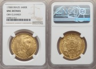 Maria I gold 6400 Reis 1788-R UNC Details (Obverse Cleaned) NGC, Rio de Janeiro mint, KM218.1, LMB-525. Veiled bust type. Blast-yellow Mint State surf...