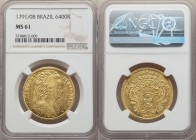 Maria I gold 6400 Reis 1791/0-B MS61 NGC, Bahia mint, KM226.2, LMB-529. An unlisted overdate in Livro Das Moedas Do Brasil. Lightly reflective fields ...