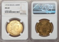 "Maria I gold 6400 Reis 1791-B MS60 NGC, Bahia mint, KM226.2, LMB-529. The second year of issue for this ""Bejeweled Headdress"" type. An array of hairli..."