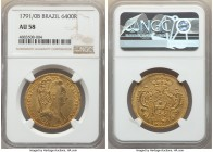Maria I gold 6400 Reis 1791/0-B AU58 NGC, Bahia mint, KM226.2, LMB-529. Offering velveteen surfaces carrying a striking deep golden tone, the overdate...