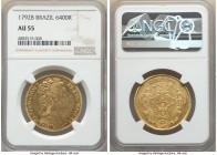 Maria I gold 6400 Reis 1792-B AU55 NGC, Bahia mint, KM226.2, LMB-510. Minimally circulated, with luminous golden surfaces.   HID09801242017  © 2020 He...