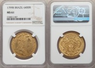 Maria I gold 6400 Reis 1799-B MS61 NGC, Bahia mint, KM226.2, LMB-517. A relatively scarce date in rare condition, with none graded higher at NGC. Glea...