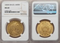 Maria I gold 6400 Reis 1800-R MS60 NGC, Rio de Janeiro mint, KM226.1, LMB-538. Copious watery reflectivity in the fields, with a pleasing honeyed tone...