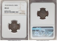 João Prince Regent 80 Reis 1816-R MS63 NGC, Rio de Janeiro mint, KM305. An impressive Choice piece, deeply toned and original. Extremely rare in any g...