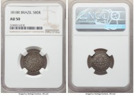 João VI 80 Reis 1818-R AU50 NGC, Rio de Janeiro mint, KM321.2. A scarce silver striking with little true wear and pleasing smoky tone.  HID09801242017...