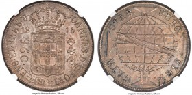 João Prince Regent 960 Reis 1815-R MS64 NGC, Rio de Janeiro mint, KM307.3. A rare example of the type, overstruck on an Argentinian 8 Reales, 1813 PTS...