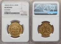 João Prince Regent gold 4000 Reis 1806-(B) AU Details (Cleaned) NGC, Bahia mint, KM235.1, LMB-545. Well struck, with boldly glinting devices.  HID0980...