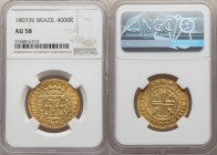 João Prince Regent gold 4000 Reis 1807-(B) AU58 NGC, Bahia mint, KM235.1, LMB-546, Gomes-33.05. Struck with an amended date, the underdigit clearly il...