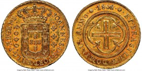 João Prince Regent gold 4000 Reis 1808-(R) AU58 NGC, Rio de Janeiro mint, KM235.2, LMB-547. A flashy selection, the surfaces of which are decorated in...