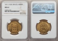 João Prince Regent gold 4000 Reis 1811/10-(R) MS61 NGC, Rio de Janeiro mint, KM235.2. Scarce so fine, devices boldly defined against lightly prooflike...