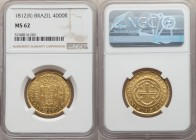 João Prince Regent gold 4000 Reis 1812-(R) MS62 NGC, Rio de Janeiro mint, KM235.2, LMB-572. A shimmering example with especially reflective denticles,...