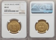 João Prince Regent gold 4000 Reis 1812-(R) MS62 NGC, Rio de Janeiro mint, KM235.2, LMB-572. A charming example with appealingly prooflike fields that ...