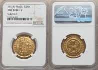 João Prince Regent gold 4000 Reis 1812-(R) UNC Details (Cleaned) NGC, Rio de Janeiro mint, KM235.2, LMB-572. Bold and lustrous, with only a slight wea...