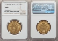 João Prince Regent gold 4000 Reis 1815/4-(R) MS61 NGC, Rio de Janeiro mint, KM235.2, LMB-575a. A satiny example with old-gold color and a clearly legi...
