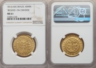 "João Prince Regent gold 4000 Reis 1816/4-(R) MS61 NGC, Rio de Janeiro mint, KM235.2, Fr-95. Variety with""REGENS"" on obverse and flowers bordering the ..."