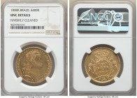 João Prince Regent gold 6400 Reis 1808-R UNC Details (Harshly Cleaned) NGC, Rio de Janeiro mint, KM236.1, LMB-558. Benefitting from a sharp, centrally...